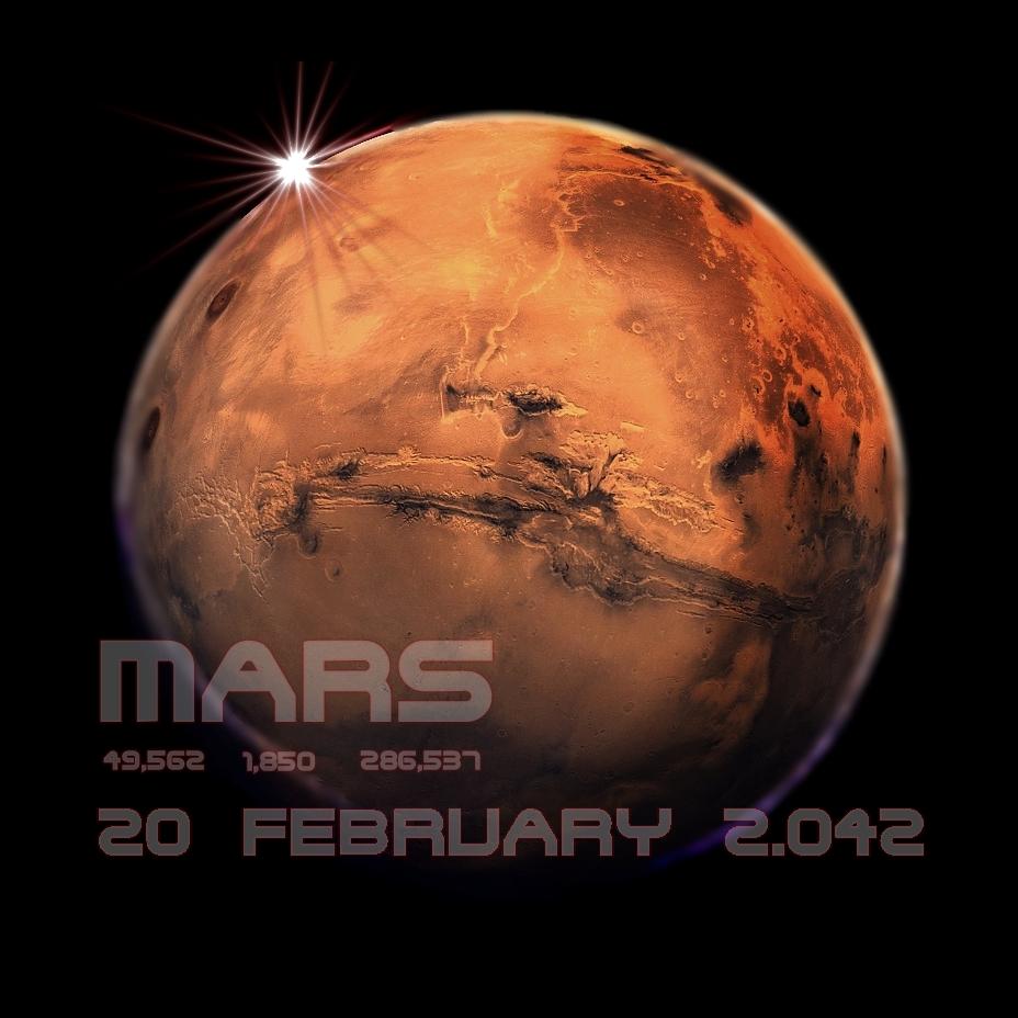 Un astronauta europeo se convierte en el primer humano en pisar el Planeta Rojo (20/02/2.042)
